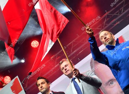 Norbert Hofer (C), leader of the right-wing Austrian Freedom Party (FPOe) and FPOe's Herbert Kickl (R) smile during the final FPOe election campaign event for the Austrian federal elections in Vienna, Austria, 27 September 2019. The Austrian federal elections will take place on 29 September 2019.