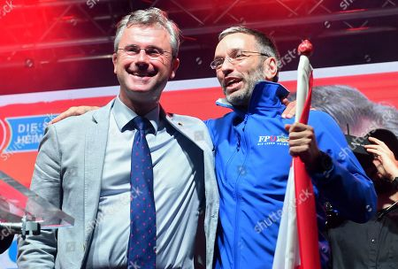 Norbert Hofer (L), leader of the right-wing Austrian Freedom Party (FPOe) and FPOe's Herbert Kickl (R) smile during the final FPOe election campaign event for the Austrian federal elections in Vienna, Austria, 27 September 2019. The Austrian federal elections will take place on 29 September 2019.