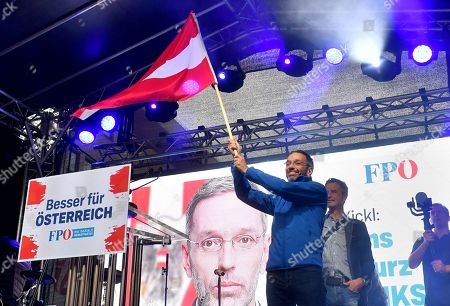 Herbert Kickl of the right-wing Austrian Freedom Party (FPOe) waves an Austrian flag during the final FPOe election campaign event for the Austrian federal elections in Vienna, Austria, 27 September 2019. The Austrian federal elections will take place on 29 September 2019.