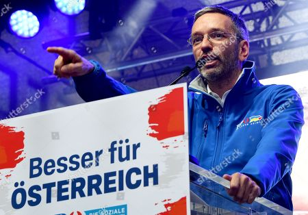 Herbert Kickl of the right-wing Austrian Freedom Party (FPOe) gestures during the final FPOe election campaign event for the Austrian federal elections in Vienna, Austria, 27 September 2019. The Austrian federal elections will take place on 29 September 2019.