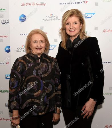 Ambassador Melanne Verveer, left, co-founder Seneca Women, and Arianna Huffington, Founder and CEO, Thrive Global, pose backstage at Seneca Women's forum, Fast Forward: Women in the Economy, at Metropolitan Museum of Art in New York. Today's forum looks at how individuals, communities and companies are advancing women and helping create progress. Visit SenecaWomen.com to learn more