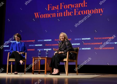 Valerie Jarrett, left, Former Senior Advisor to President Obama, and Ambassador Melanne Verveer, co-founder Seneca Women, talk at Seneca Women's forum, Fast Forward: Women in the Economy, at Metropolitan Museum of Art in New York. Today's forum looks at how individuals, communities and companies are advancing women and helping create progress. Visit SenecaWomen.com to learn more