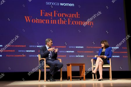 Marc Pritchard, Chief Brand Officer, P&G, talks with Kim Azzarelli, co-founder Seneca Women, at Seneca Women's forum, Fast Forward: Women in the Economy, at Metropolitan Museum of Art in New York. Today's forum looks at how individuals, communities and companies are advancing women and helping create progress. Visit SenecaWomen.com to learn more