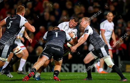 Ulster vs Ospreys. Ulster's Sean Reidy clashes heads with Luke Price of Ospreys