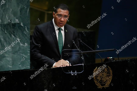 Jamaica's Prime Minister Andrew Holness addresses the 74th session of the United Nations General Assembly, at the United Nations headquarters