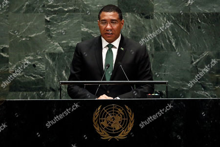 Stock Photo of Jamaica's Prime Minister Andrew Holness addresses the 74th session of the United Nations General Assembly