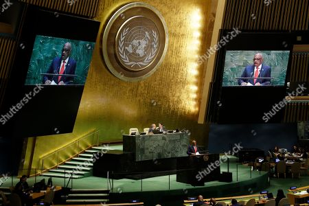 Stock Picture of The Bahamas' Prime Minister Hubert Minnis addresses the 74th session of the United Nations General Assembly, at the United Nations headquarters
