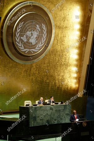 Stock Photo of The Bahamas' Prime Minister Hubert Minnis addresses the 74th session of the United Nations General Assembly, at the United Nations headquarters
