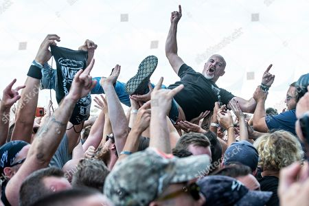 Phil Anselmo. Festival goer crowd surfs while Philip H. Anselmo & The Illegals perform during Louder Than Life at Highland Festival Grounds at KY Expo Center, in Louisville, Ky
