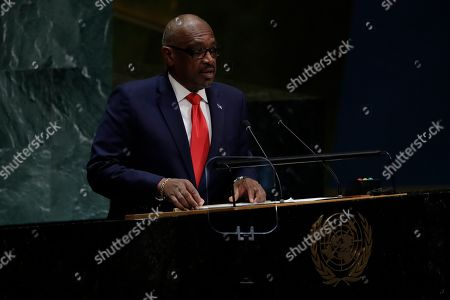 Stock Image of The Bahamas' Prime Minister Hubert Minnis addresses the 74th session of the United Nations General Assembly, at the United Nations headquarters