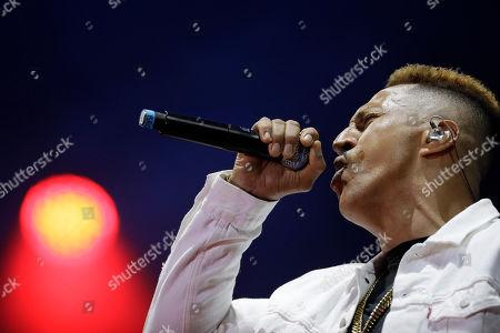 Stock Picture of Brazilian rapper Mano Brown performs at the Rock in Rio music festival in Rio de Janeiro, Brazil