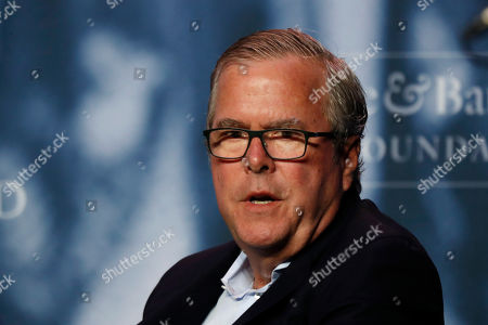 Former Florida Gov. Jeb Bush takes part in a discussion at a George and Barbara Bush Distinguished Lecture, at the University of New England in Biddeford, Maine