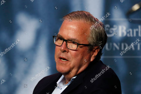 Stock Image of Former Florida Gov. Jeb Bush takes part in a discussion at a George and Barbara Bush Distinguished Lecture, at the University of New England in Biddeford, Maine