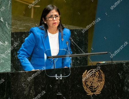 Vice President of Venezuela Delcy Rodriguez addresses the 74th session of the United Nations General Assembly, at the United Nations headquarters