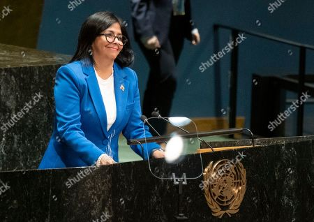 Vice President of Venezuela Delcy Rodriguez begins her address to the 74th session of the United Nations General Assembly, at the United Nations headquarters