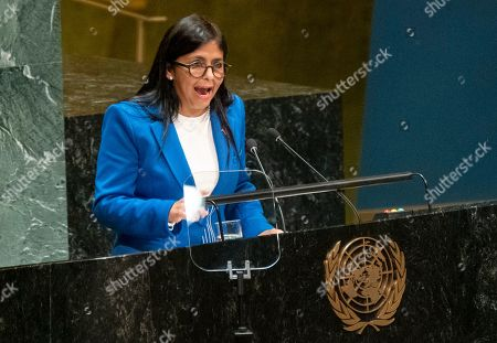 Stock Image of Vice President of Venezuela Delcy Rodriguez addresses the 74th session of the United Nations General Assembly, at the United Nations headquarters