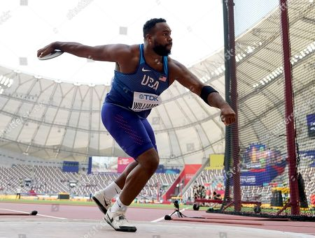 Brian Williams, of the United States, competes in the men's discus throw at the World Athletics Championships in Doha, Qatar