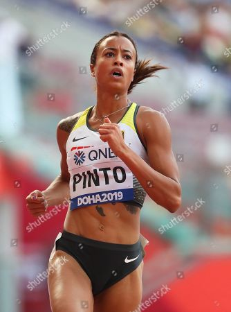 Tatjana Pinto of Germany reacts after competing in the women's 100m heats during the IAAF World Athletics Championships 2019 at the Khalifa Stadium in Doha, Qatar, 28 September 2019.