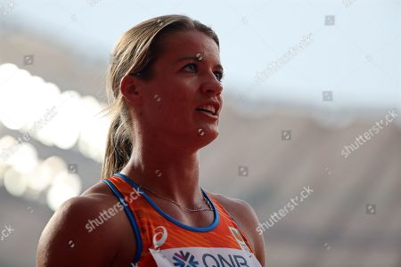 Dafne Schippers of the Netherlands reacts after competing in the women's 100m heats during the IAAF World Athletics Championships 2019 at the Khalifa Stadium in Doha, Qatar, 28 September 2019.