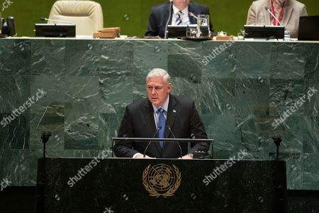 Saint Lucia's Prime Minister Allen Michael Chastane addresses the 74th session of the United Nations General Assembly at the U.N. headquarters