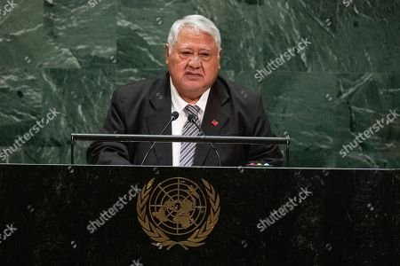 Stock Photo of Samoa's Prime Minister Tuilaepa Sailele Malielegaoi addresses the 74th session of the United Nations General Assembly at the U.N. headquarters