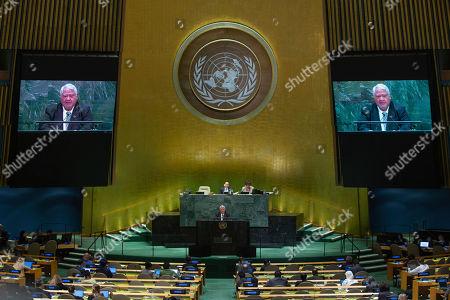 Samoa's Prime Minister Tuilaepa Sailele Malielegaoi addresses the 74th session of the United Nations General Assembly at the U.N. headquarters