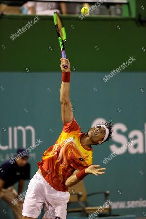 Spanish tennis player David Ferrer returns the ball to German tennis playerTommy Haas during their second match of the fourth edition of the Senior Masters Cup at the Club de Tenis Puente Roman in Marbella, Spain, 27 September 2019.