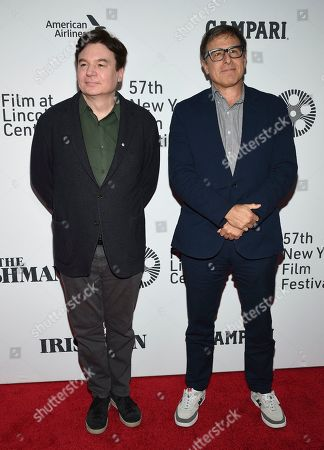 "Stock Image of Mike Myers, left, and David O. Russell attend the world premiere of ""The Irishman"" at Alice Tully Hall during the opening night of the 57th New York Film Festival, in New York"
