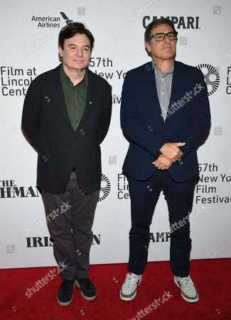 """Mike Myers, left, and David O. Russell attend the world premiere of """"The Irishman"""" at Alice Tully Hall during the opening night of the 57th New York Film Festival, in New York"""