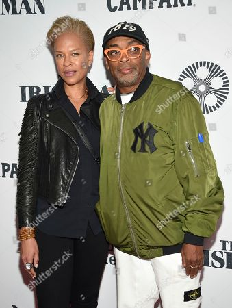 """Spike Lee, Tonya Lewis Lee. Spike Lee, right, and Tonya Lewis Lee attend the world premiere of """"The Irishman"""" at Alice Tully Hall during the opening night of the 57th New York Film Festival, in New York"""