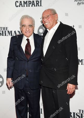 """Martin Scorsese, Irwin Winkler. Director Martin Scorsese, left, and film producer Irwin Winkler attend the world premiere of """"The Irishman"""" at Alice Tully Hall during the opening night of the 57th New York Film Festival, in New York"""