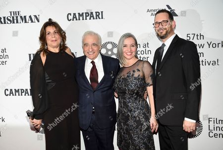 "Cathy Scorsese, Martin Scorsese, Domenica Cameron-Scorsese, Tony Frenzel. Cathy Scorsese, Martin Scorsese, Domenica Cameron-Scorsese and husband Tony Frenzel attend the world premiere of ""The Irishman"" at Alice Tully Hall during the opening night of the 57th New York Film Festival, in New York"