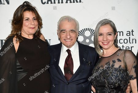 "Cathy Scorsese, Martin Scorsese, Domenica Cameron-Scorsese. Director Martin Scorsese, center, poses with his daughters Cathy Scorsese, left, and Domenica Cameron-Scorsese at the world premiere of ""The Irishman"" at Alice Tully Hall during the opening night of the 57th New York Film Festival, in New York"
