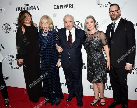 "Cathy Scorsese, Helen Morris, Martin Scorsese, Domenica Cameron-Scorsese, Tony Frenzel. Cathy Scorsese, Helen Morris, Martin Scorsese, Domenica Cameron-Scorsese and Tony Frenzel attend the world premiere of ""The Irishman"" at Alice Tully Hall during the opening night of the 57th New York Film Festival, in New York"