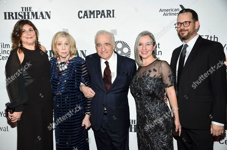"Stock Photo of Cathy Scorsese, Helen Morris, Martin Scorsese, Domenica Cameron-Scorsese, Tony Frenzel. Cathy Scorsese, Helen Morris, Martin Scorsese, Domenica Cameron-Scorsese and Tony Frenzel attend the world premiere of ""The Irishman"" at Alice Tully Hall during the opening night of the 57th New York Film Festival, in New York"