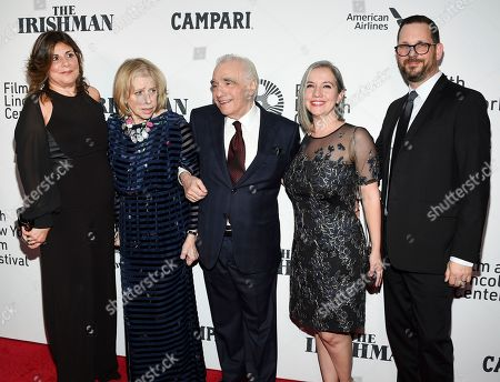 """Cathy Scorsese, Helen Morris, Martin Scorsese, Domenica Cameron-Scorsese, Tony Frenzel. Cathy Scorsese, Helen Morris, Martin Scorsese, Domenica Cameron-Scorsese and Tony Frenzel attend the world premiere of """"The Irishman"""" at Alice Tully Hall during the opening night of the 57th New York Film Festival, in New York"""