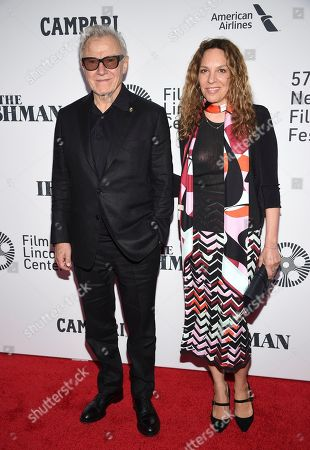 """Harvey Keitel, Daphna Kastner. Harvey Keitel and wife Daphna Kastner attend the world premiere of """"The Irishman"""" at Alice Tully Hall during the opening night of the 57th New York Film Festival, in New York"""
