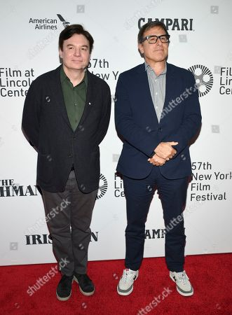 """Mike Myers, David O. Russell. Mike Myers, left, and David O. Russell attend the world premiere of """"The Irishman"""" at Alice Tully Hall during the opening night of the 57th New York Film Festival, in New York"""