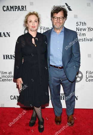 """J. Smith-Cameron, Kenneth Lonergan. Playwright Kenneth Lonergan and wife J. Smith-Cameron attend the world premiere of """"The Irishman"""" at Alice Tully Hall during the opening night of the 57th New York Film Festival, in New York"""
