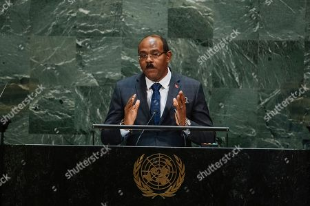 Antigua and Barbuda's Prime Minister Gaston Alphonso Browne addresses the 74th session of the United Nations General Assembly at the U.N. headquarters