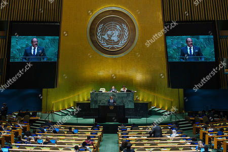 Stock Image of Antigua and Barbuda's Prime Minister Gaston Alphonso Browne addresses the 74th session of the United Nations General Assembly at the U.N. headquarters