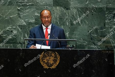 Vanuatu's Prime Minister Charlot Salwai Tabimasmas addresses the 74th session of the United Nations General Assembly at the U.N. headquarters