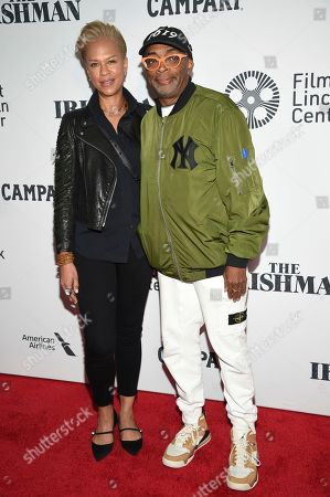 """Spike Lee, right, and Tonya Lewis Lee attend the world premiere of """"The Irishman"""" at Alice Tully Hall during the opening night of the 57th New York Film Festival, in New York"""