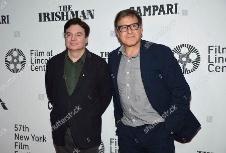 "Mike Myers, left, and David O. Russell attend the world premiere of ""The Irishman"" at Alice Tully Hall during the opening night of the 57th New York Film Festival, in New York"
