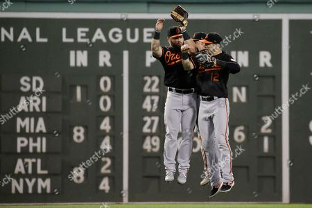 DJ Stewart, Stevie Wilkerson, Austin Hays. Baltimore Orioles outfielders from left, DJ Stewart, Stevie Wilkerson and Austin Hays celebrate after defeating the Boston Red Sox in a baseball game at Fenway Park, in Boston