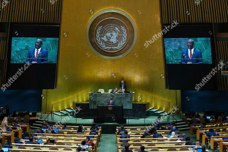 Stock Picture of Trinidad and Tobago's Prime Minister Keith Rowley addresses the 74th session of the United Nations General Assembly at the U.N. headquarters