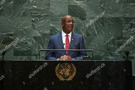 Trinidad and Tobago's Prime Minister Keith Rowley addresses the 74th session of the United Nations General Assembly at the U.N. headquarters