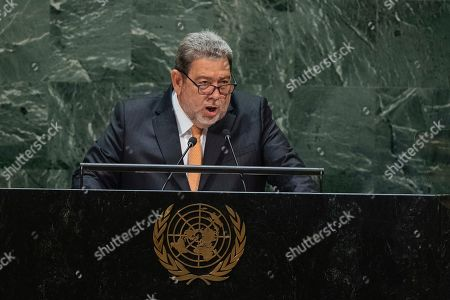 Saint Vincent and the Grenadines' Prime Minister Ralph Gonsalves addresses the 74th session of the United Nations General Assembly at the U.N. headquarters