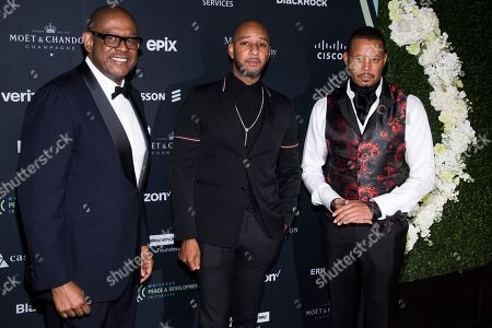 """Forest Whitaker, Swizz Beatz, Terrence Howard. Forest Whitaker, from left, Swizz Beatz and Terrence Howard attend the Whitaker Peace & Development Initiative """"Place for Peace"""" benefit gala at Gotham Hall, in New York"""