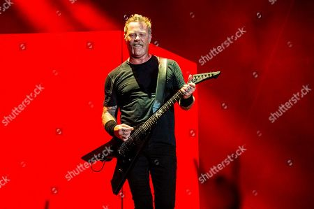 James Hetfield of Metallica performs on day two of the Austin City Limits Music Festival's second weekend in Austin, Texas. Metallica says its frontman Hetfield has entered rehab, and the band is canceling its upcoming tour in Australia and New Zealand. Three of the heavy metal band's members, drummer Lars Ulrich, guitarist Kirk Hammett and bassist Rob Trujillo, posted a statement, on Twitter announcing the decision and apologizing to fans